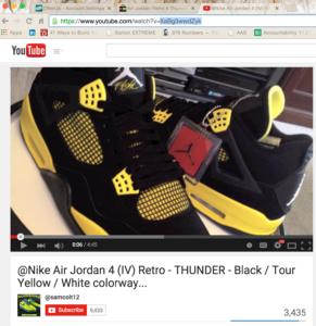 Retro 4 Air Jordans YouTube Link Pic