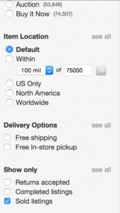 Sold Items Screenshot